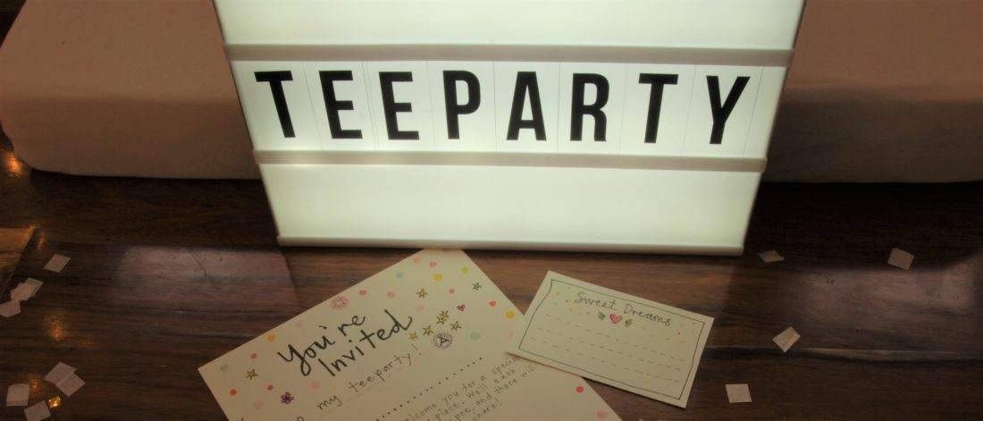 Teeparty teepee sleepover fun Teeparty invites and pillow notes